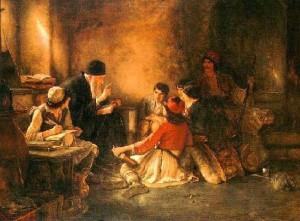 Scoala secreta preot ortodox familie pictura in ulei