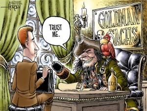 Goldman Sachs caricatura trust me
