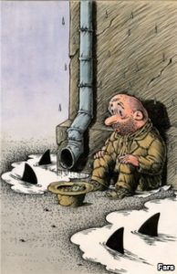 Caricatura Prabusirea Wall Street banci3